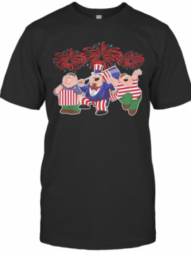 Brown Haired Dipper Pines Firework American Flag Independence Day T-Shirt