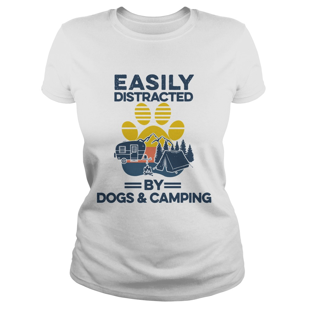 Easily Distracted By Dogs And Campers Vintage Classic Ladies