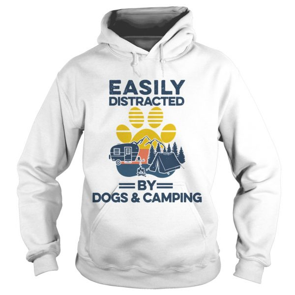 Easily Distracted By Dogs And Campers Vintage  Hoodie