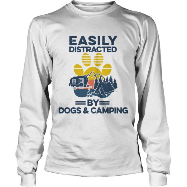Easily Distracted By Dogs And Campers Vintage  Long Sleeve