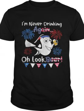 Fish im never drinking again oh look beer firework american flag independence day shirt