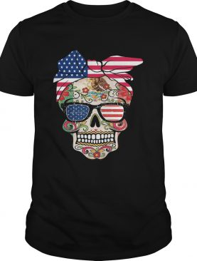 Hippie skull american flag independence day shirt
