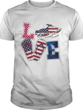 Love snowmobile sandals american flag independence day shirt