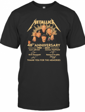 Metallica 40Th Anniversary 1980 2020 Thank You For The Memories Signatures T-Shirt
