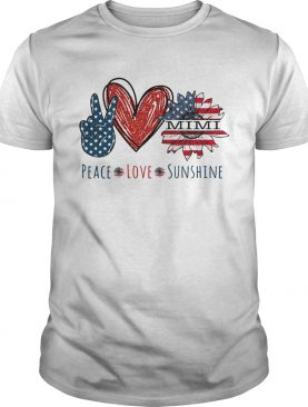 Peace love sunshine mimi sunflower heart American flag veteran Independence day shirt