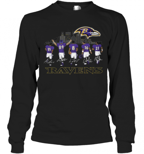 Player Name Baltimore Ravens Legends Signatures T-Shirt Long Sleeved T-shirt