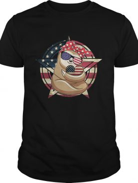Sloth hug heart American flag veteran Independence Day shirt