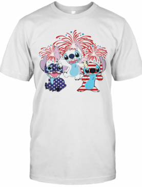 Stitch Firework American Flag Independence Day T-Shirt