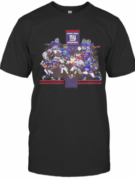 Super Bowl New York Giants Champions Players Signatures T-Shirt