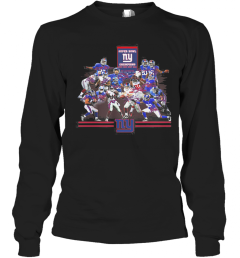 Super Bowl New York Giants Champions Players Signatures T-Shirt Long Sleeved T-shirt