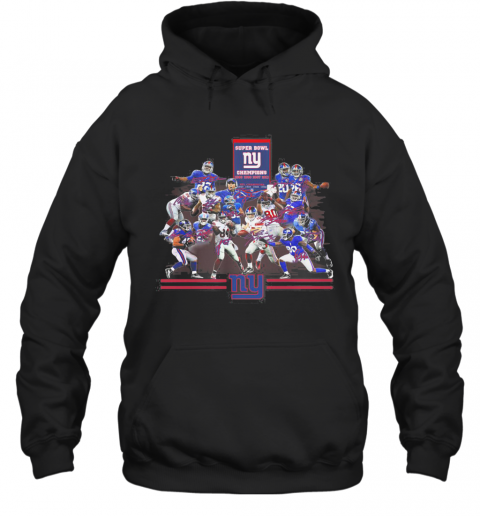Super Bowl New York Giants Champions Players Signatures T-Shirt Unisex Hoodie