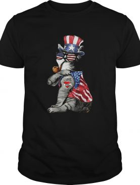 Uncle Sam Cat Tattoo I Love US Happy The 4th Of July shirt