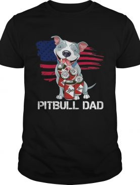 American Flag Pitbull Dad In Beer Father Day shirt