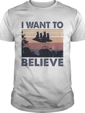 Cats UFO I want to believe vintage retro shirt
