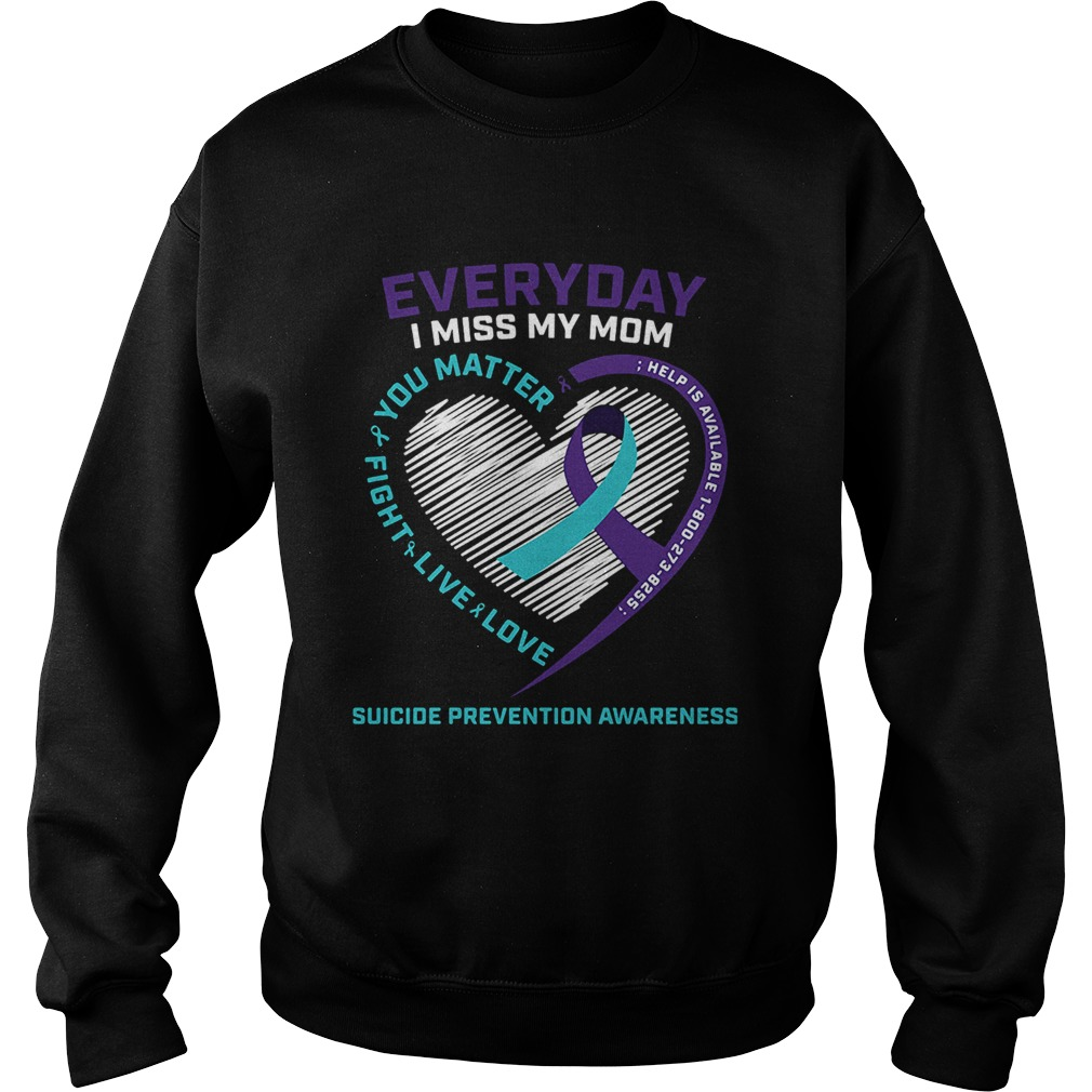 Everyday i miss mom you matter fight live love help is available cancer awareness hearts Sweatshirt