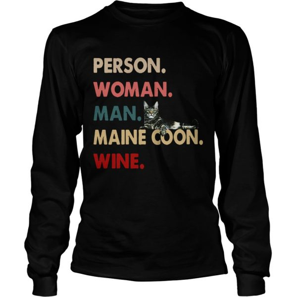 Cat Person Woman Man Maine Coon Wine  Long Sleeve