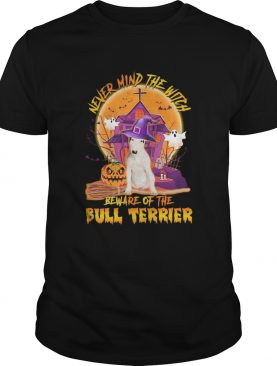 Never Mind The Witch Beware Of The Bull Terrier Halloween Moon shirt
