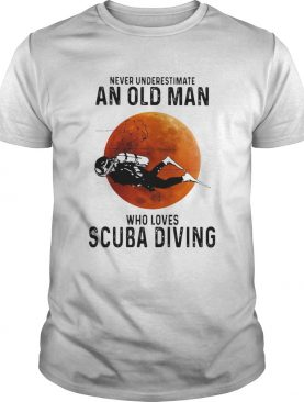 Never Underestimate An Old Man Who Loves Scuba Diving Moon shirt