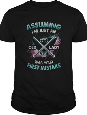 Police Logo Assuming Im just an old lady was your first mistake shirt