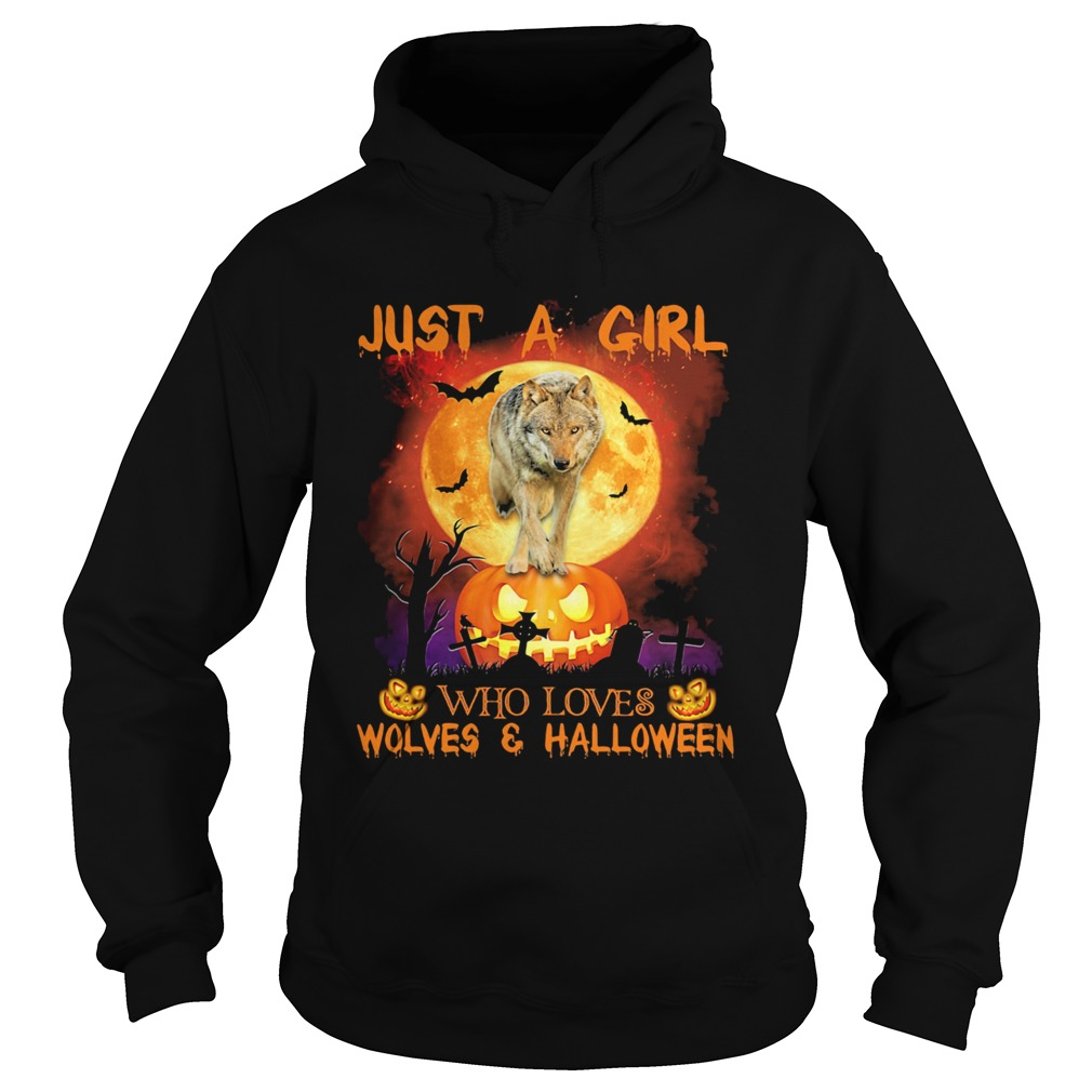 Wolf just a girl who loves wolves and halloween moon pumpkin Hoodie