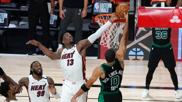 An impressive block from Adebayo over Tatum gives the Heat the first win