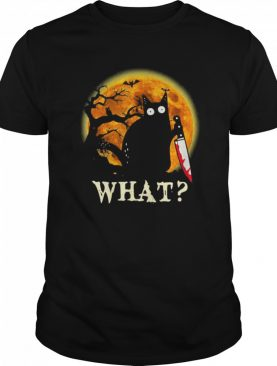 Black Cat What Murderous With Knife Halloween shirt