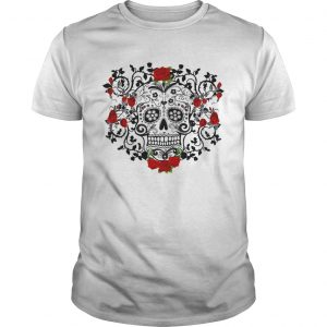 Black Sugar Skull Roses Dia De Los Muertos Day Of The Dead  Unisex