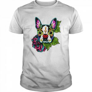 Boston Terrier In Black  Day Of The Dead Sugar Skull Dog  Classic Men's T-shirt
