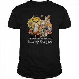 Cats it's the most wonderful time of the year sunflowers leaves tree  Classic Men's T-shirt