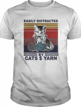 Easily Distracted By Cats And Yarn Vintage Retro shirt