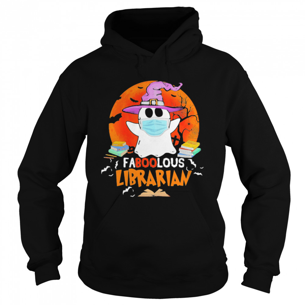 Halloween ghost mask faboolous librarian moon Unisex Hoodie