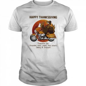 Happy Thanksgiving Thankful For Freedom Open Roads Two Wheels Family And Friends Blood Moon  Classic Men's T-shirt