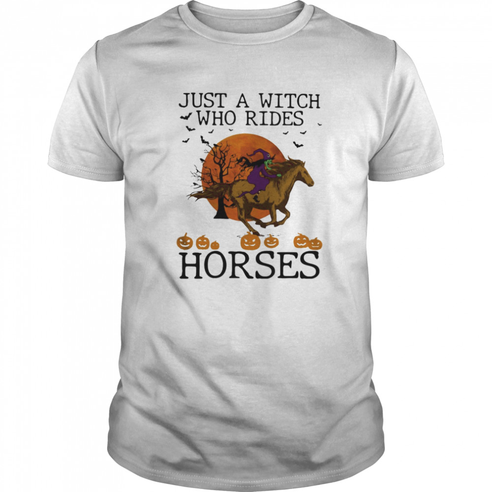 Just A Witch Who Rides Horse Moon Halloween Classic Men's T-shirt