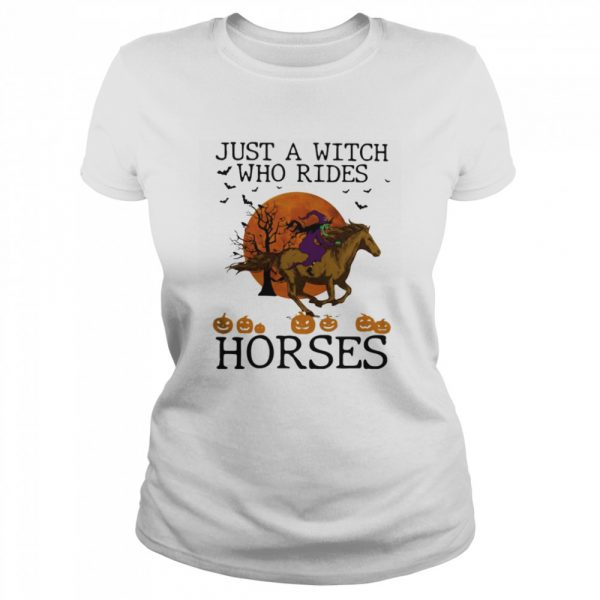 Just A Witch Who Rides Horse Moon Halloween  Classic Women's T-shirt