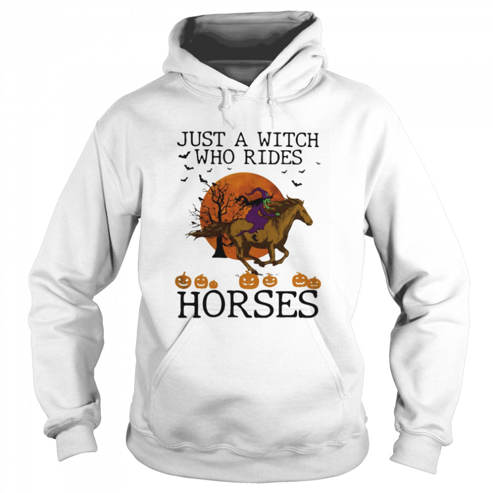Just A Witch Who Rides Horse Moon Halloween Unisex Hoodie