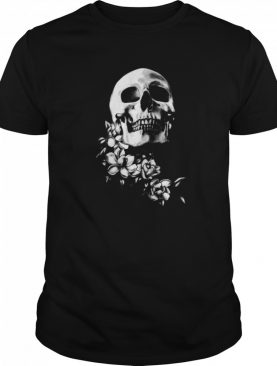 Skull And Magnolia Flowers BW Day Of The Dead shirt