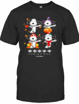 Snoopy Christmas Loading Fall Leaves Map T-Shirt
