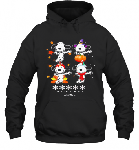 Snoopy Christmas Loading Fall Leaves Map T-Shirt Unisex Hoodie