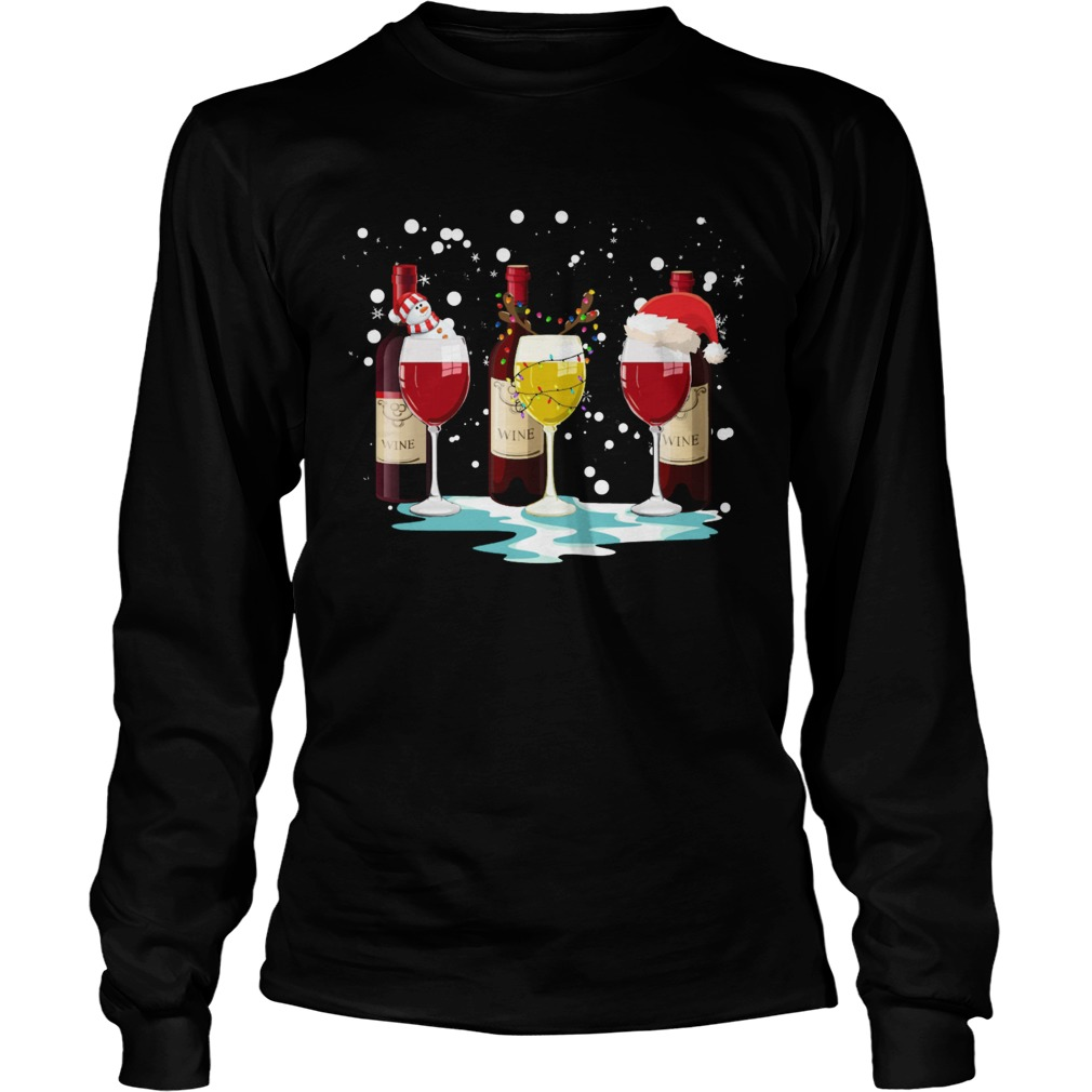 Wine Glass Snowman Reindeer Santa Christmas Long Sleeve