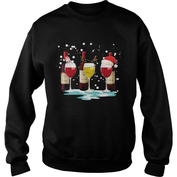 Wine Glass Snowman Reindeer Santa Christmas  Sweatshirt