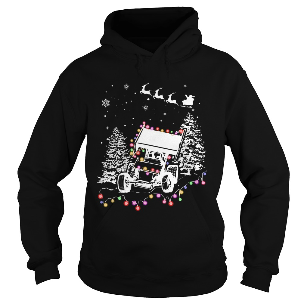 Winged Sprint Cars With Tree Christmas Lights Hoodie