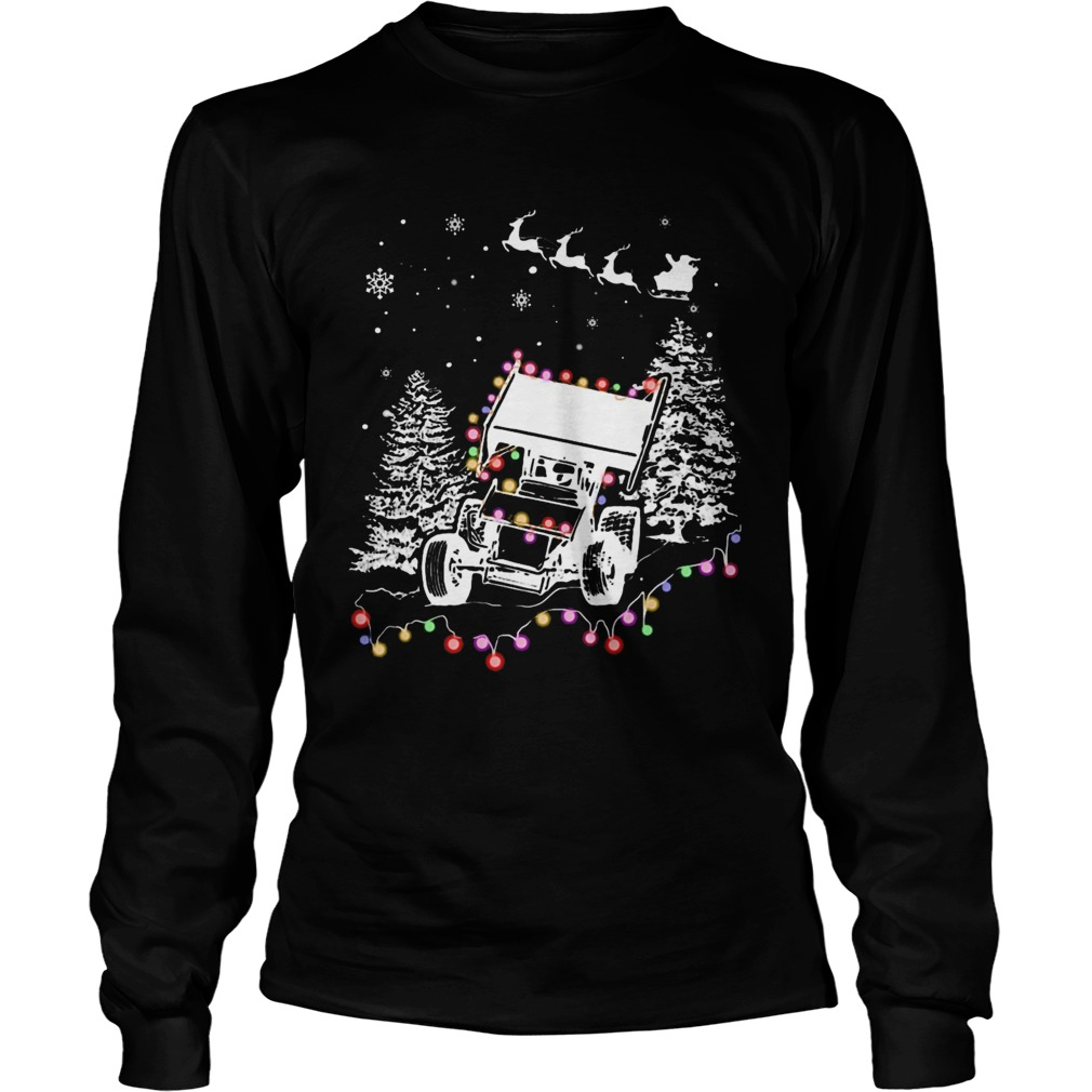 Winged Sprint Cars With Tree Christmas Lights Long Sleeve
