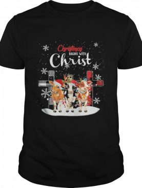 Cow hat santa merry christmas begins with christ shirt