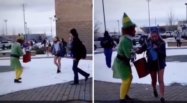 Dad dressed as Buddy the Elf surprises mortified daughter at school