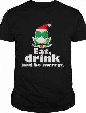 Flower Alien Santa Eat Drink And Be Merry shirt