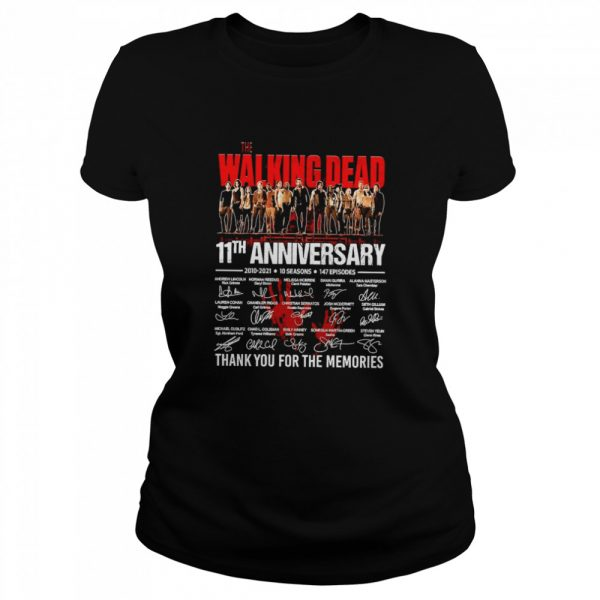 The Walking Dead 11th Anniversary 2010 2021 10 Seasons 147 Episodes Thank You For The Memories Signatures  Classic Women's T-shirt