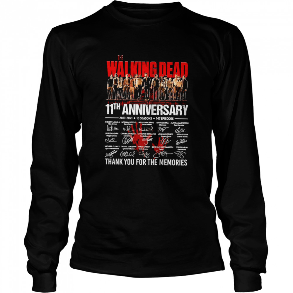 The Walking Dead 11th Anniversary 2010 2021 10 Seasons 147 Episodes Thank You For The Memories Signatures Long Sleeved T-shirt