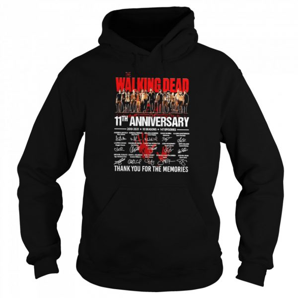 The Walking Dead 11th Anniversary 2010 2021 10 Seasons 147 Episodes Thank You For The Memories Signatures  Unisex Hoodie