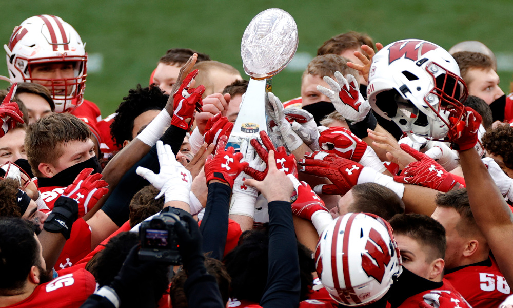 The Wisconsin football team shattered their Duke's Mayo Bowl trophy by accident