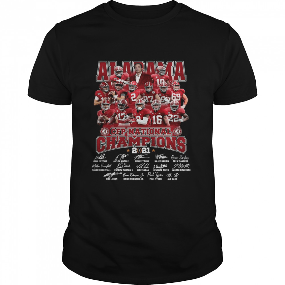 Alabama Crimson Tide Team Players Cfp National Champions 2021 Signatures Classic Men's T-shirt